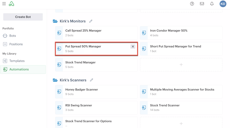 Put spread monitor automation highlightde