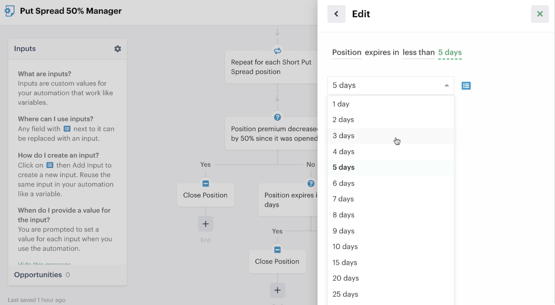 Decision recipe in automation editor
