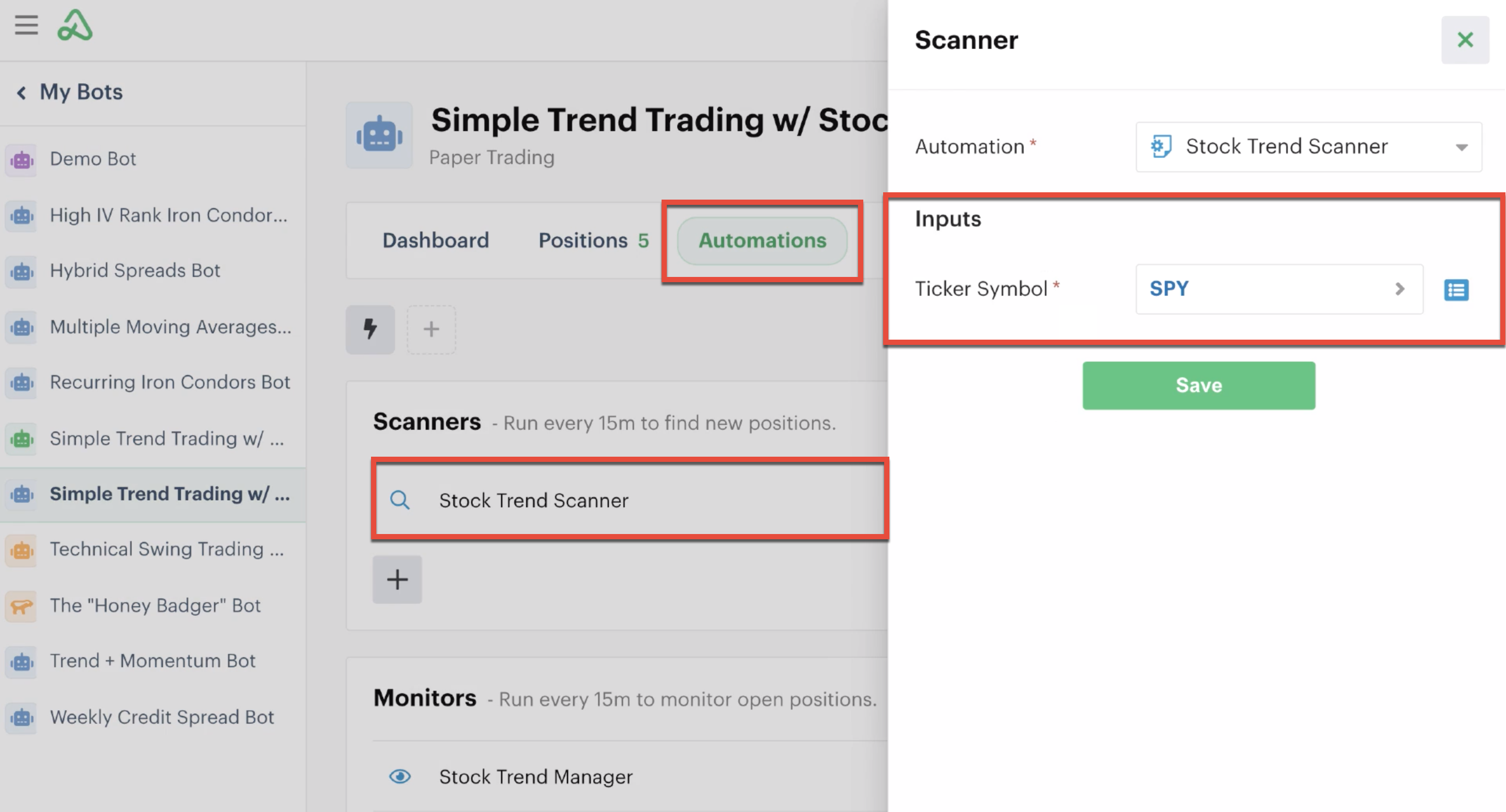 Scanner automation custom input in automations tab