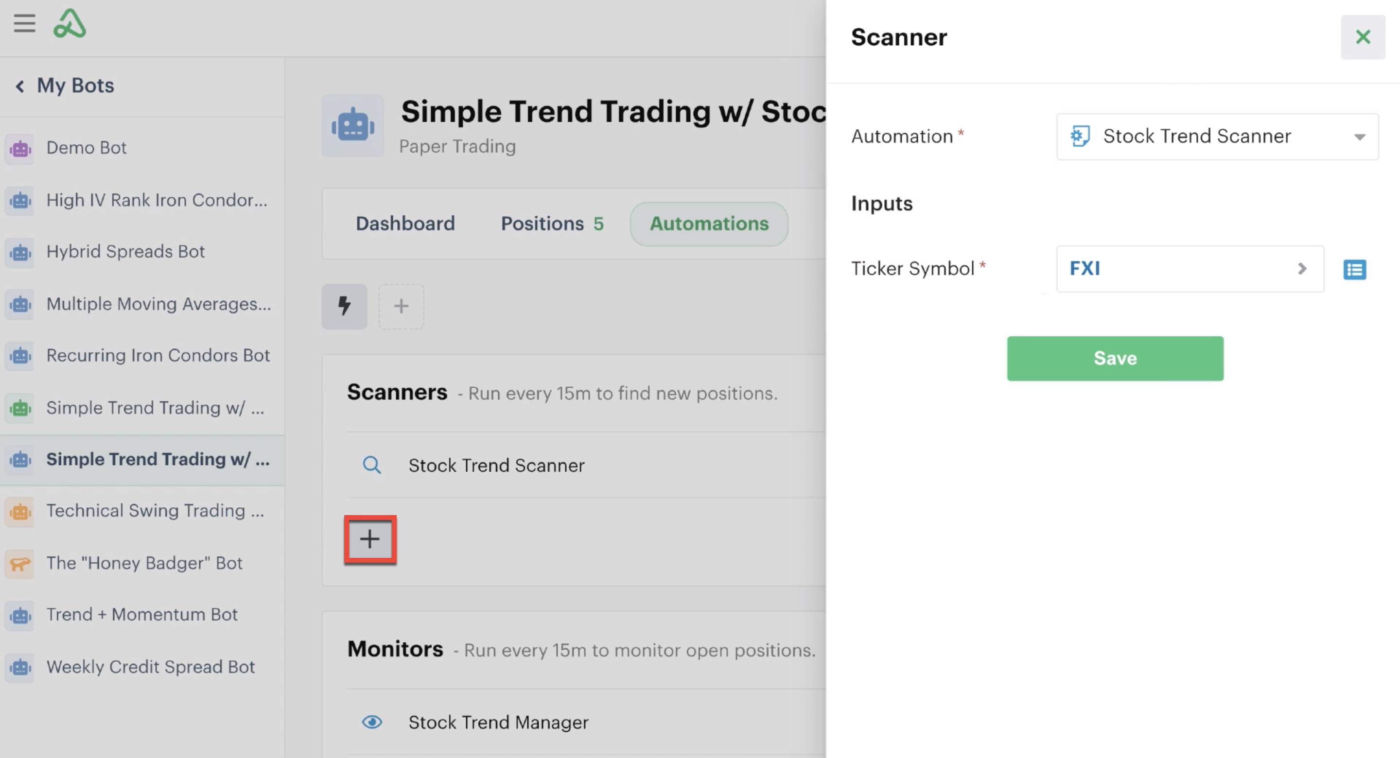 Adding a scanner automation with same custom input, different ticker symbol