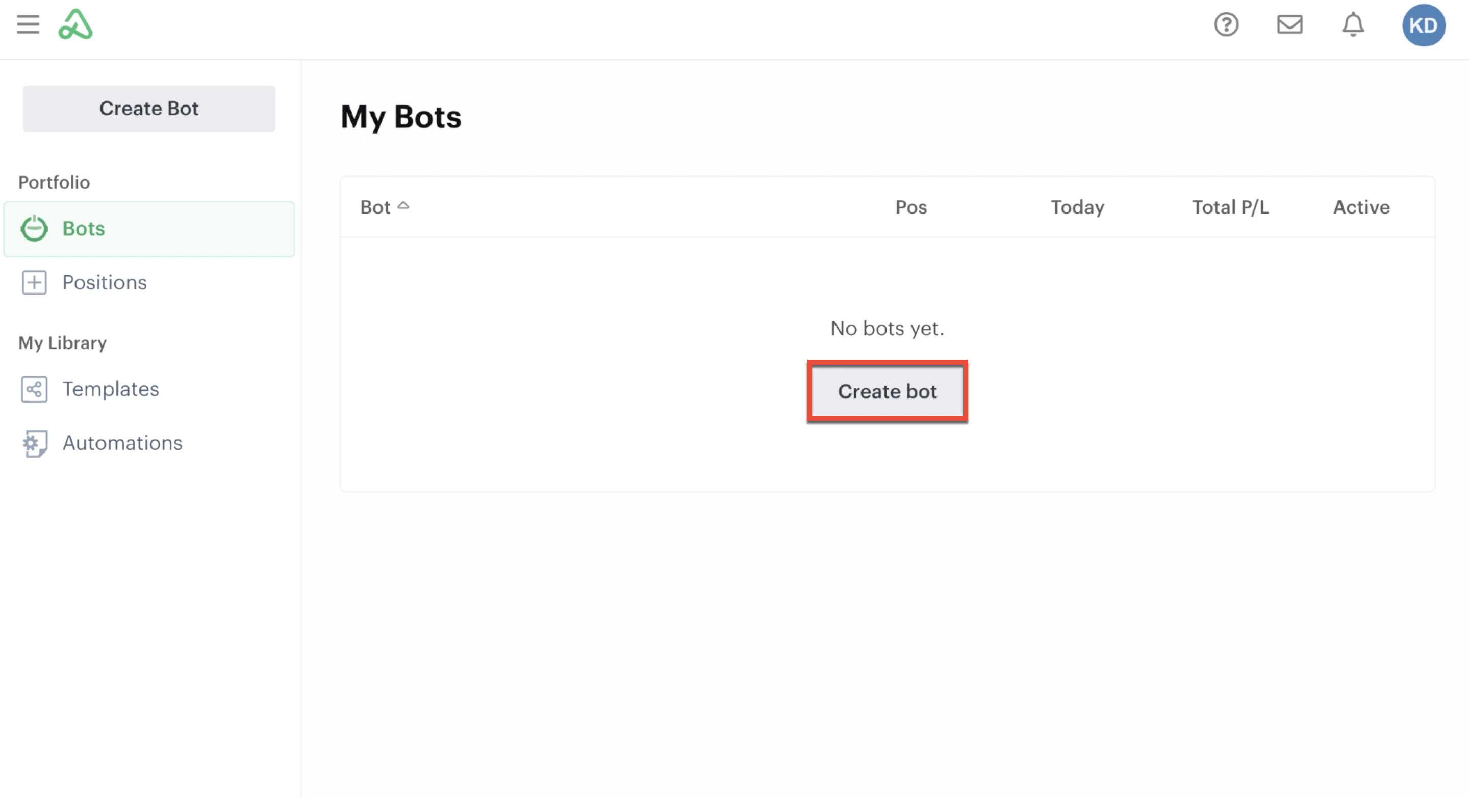 Create bot button in the bots homepage