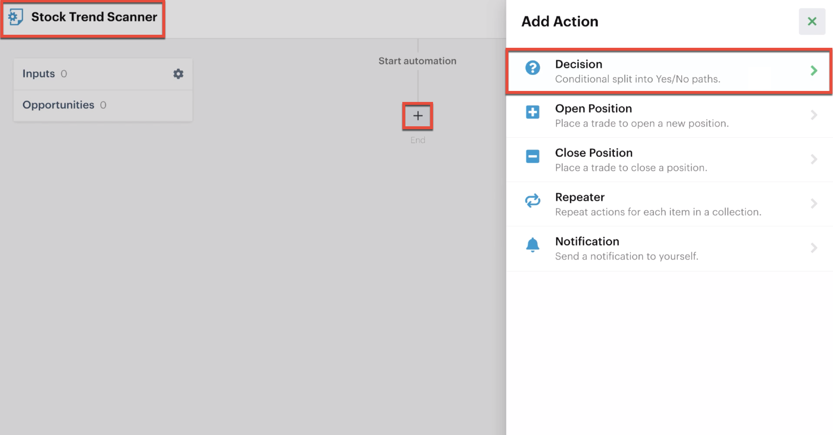 Adding a decision action to the automation editor