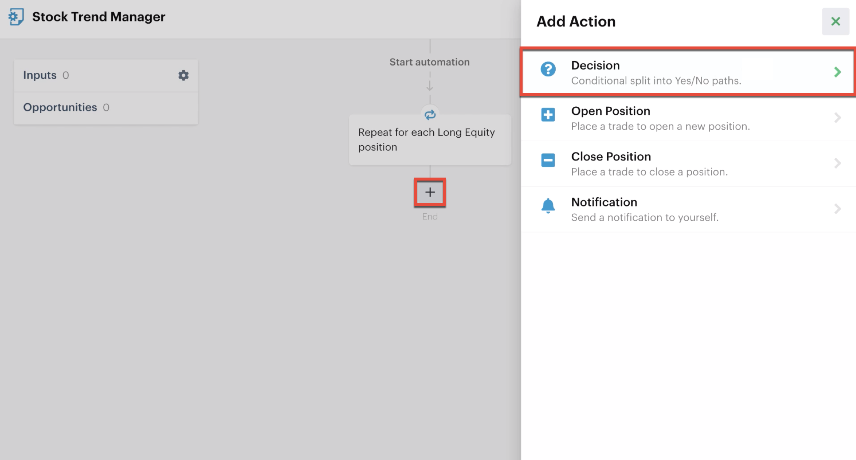 Adding a decision action to an automation