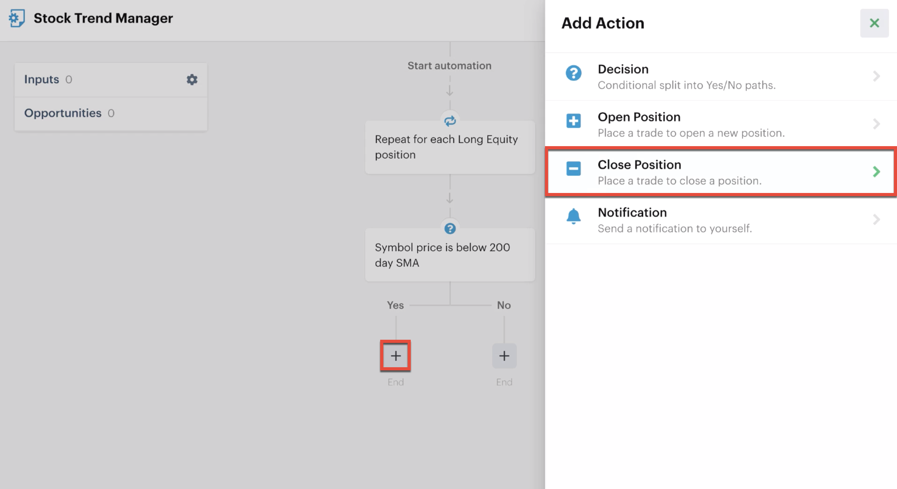 Adding a close position action
