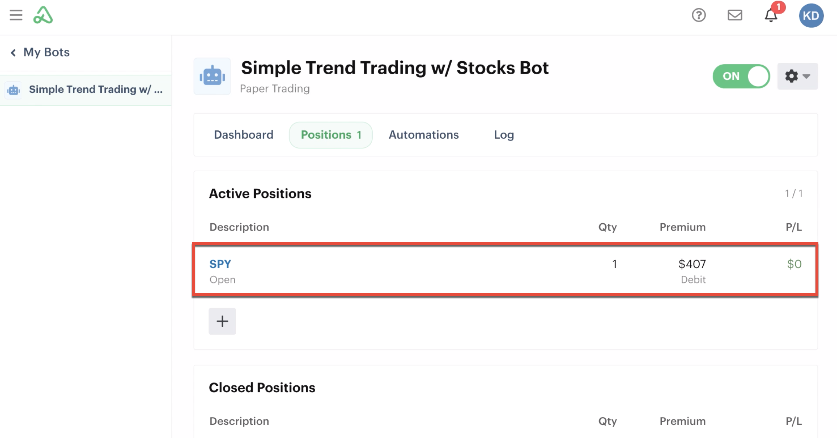 Positions tab highlighting new open position