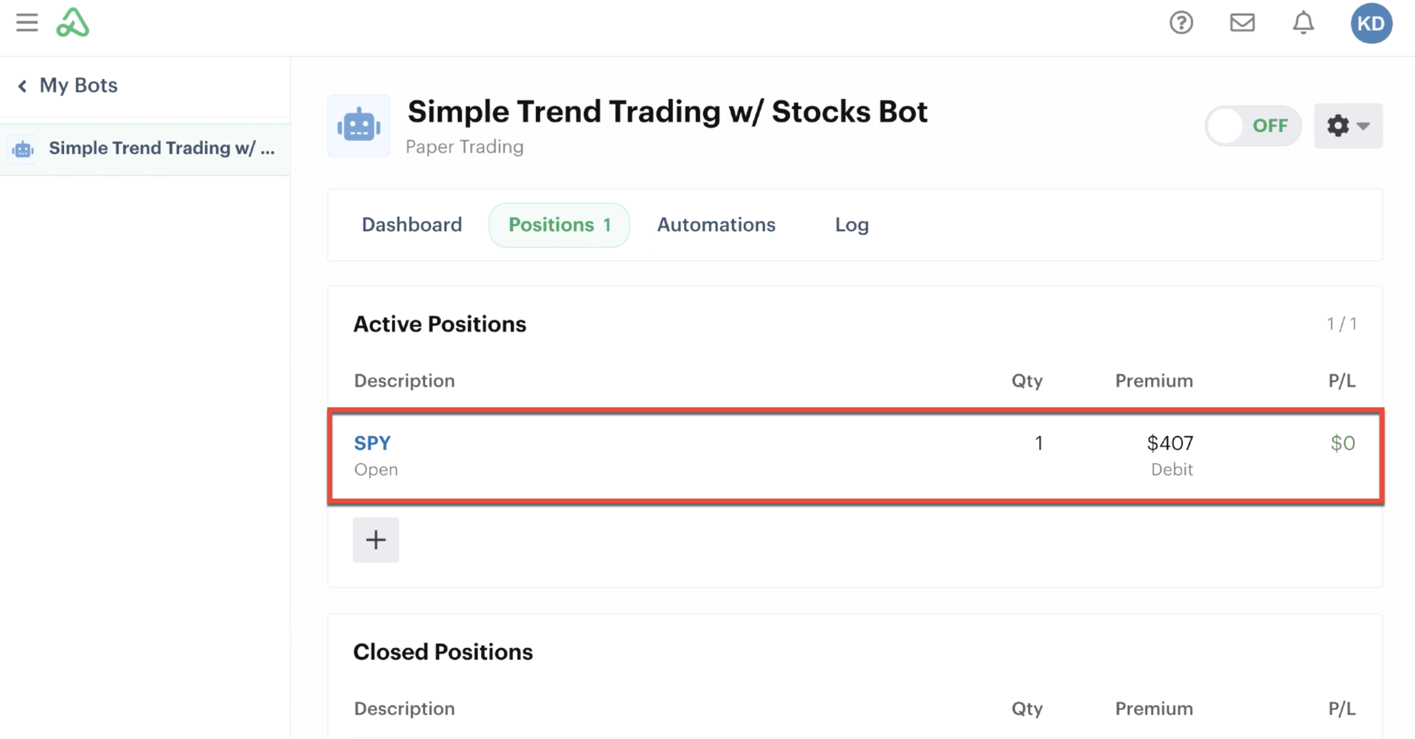 Positions tab highlighting one open position