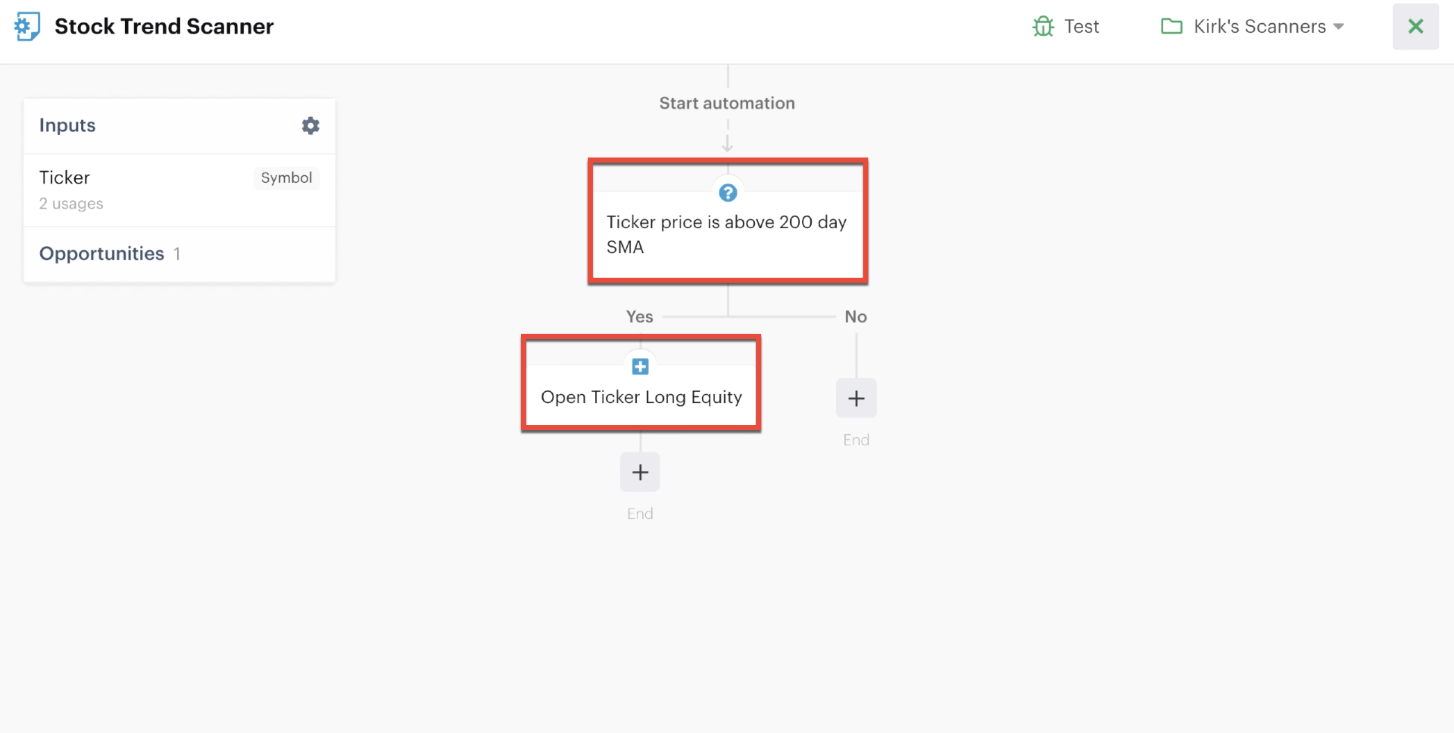 Automation editor highlighting ticker custom inputs in multiple decision actions