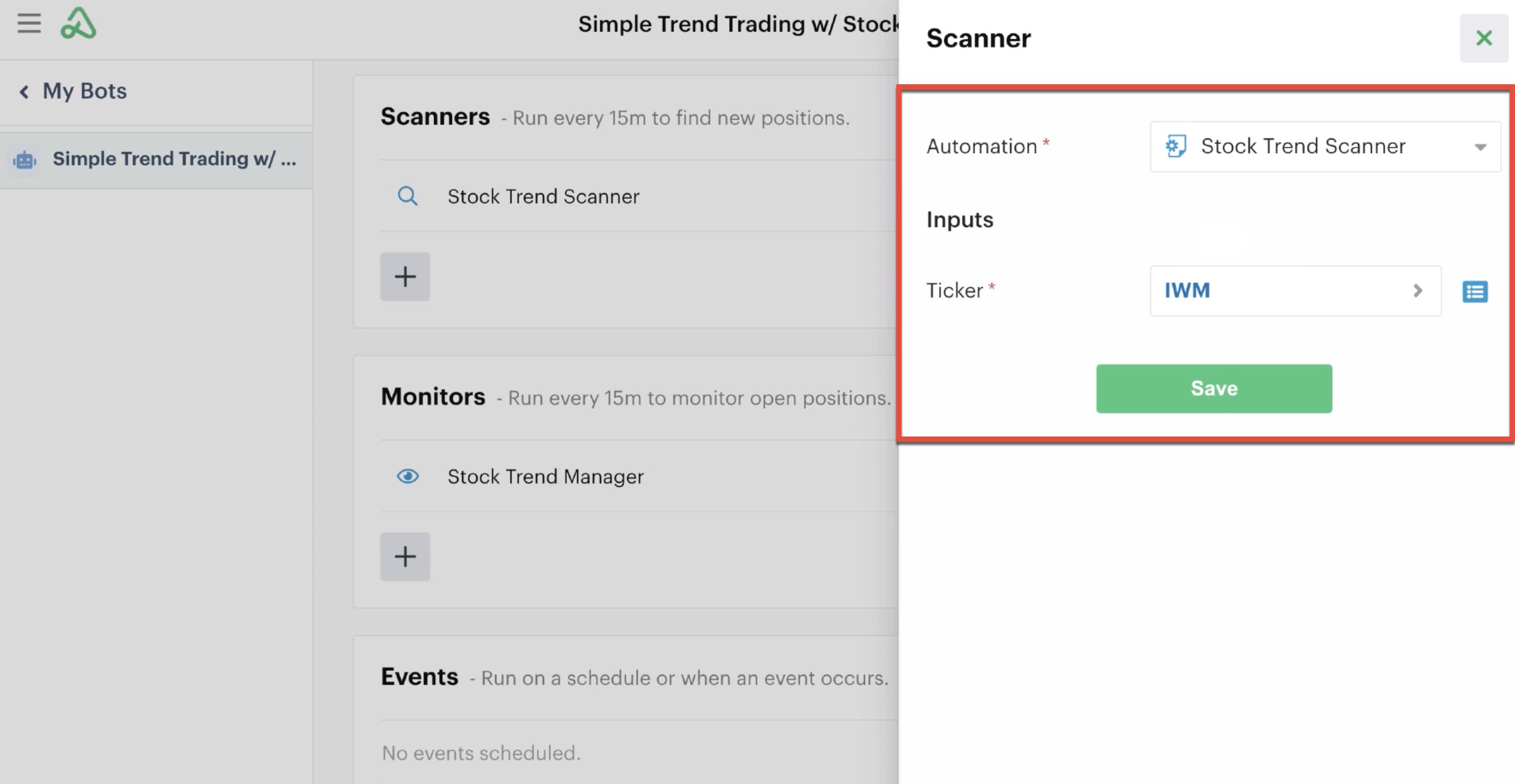 Custom input settings