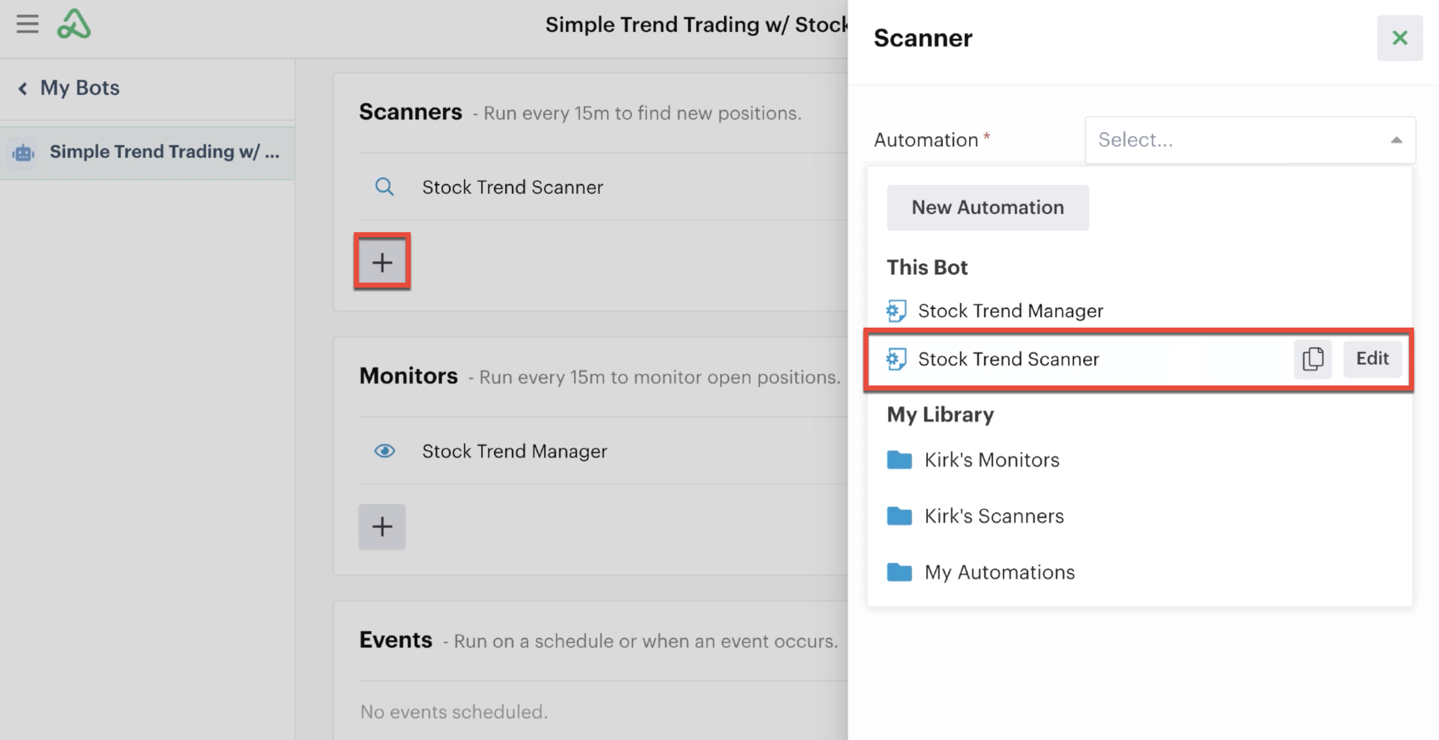 Adding a scanner automation