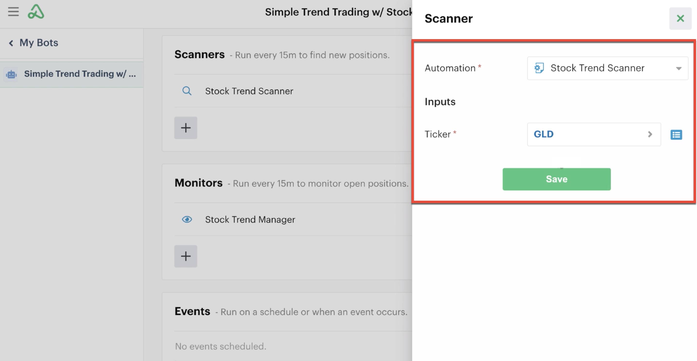 Custom input settings with new ticker input