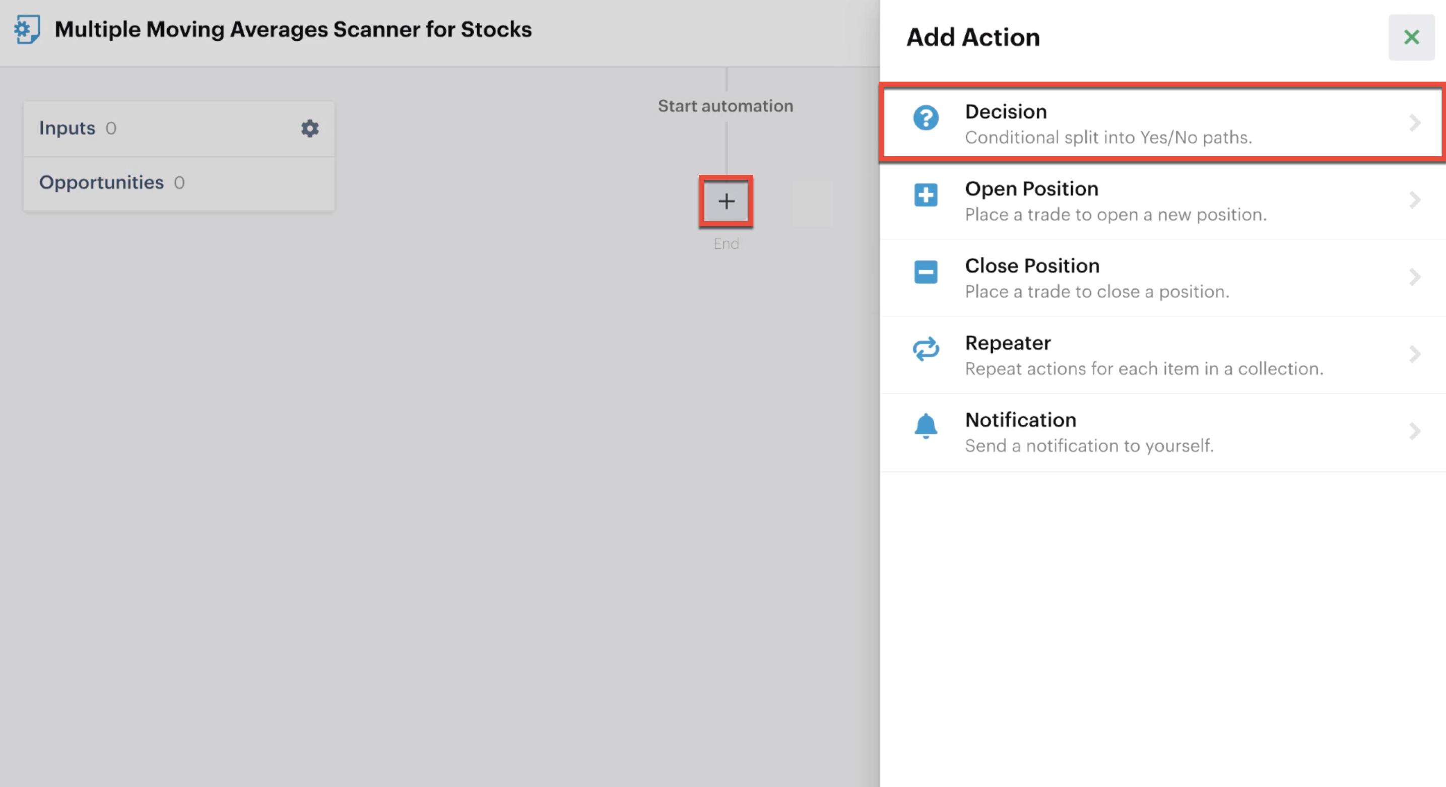 Adding a decision action