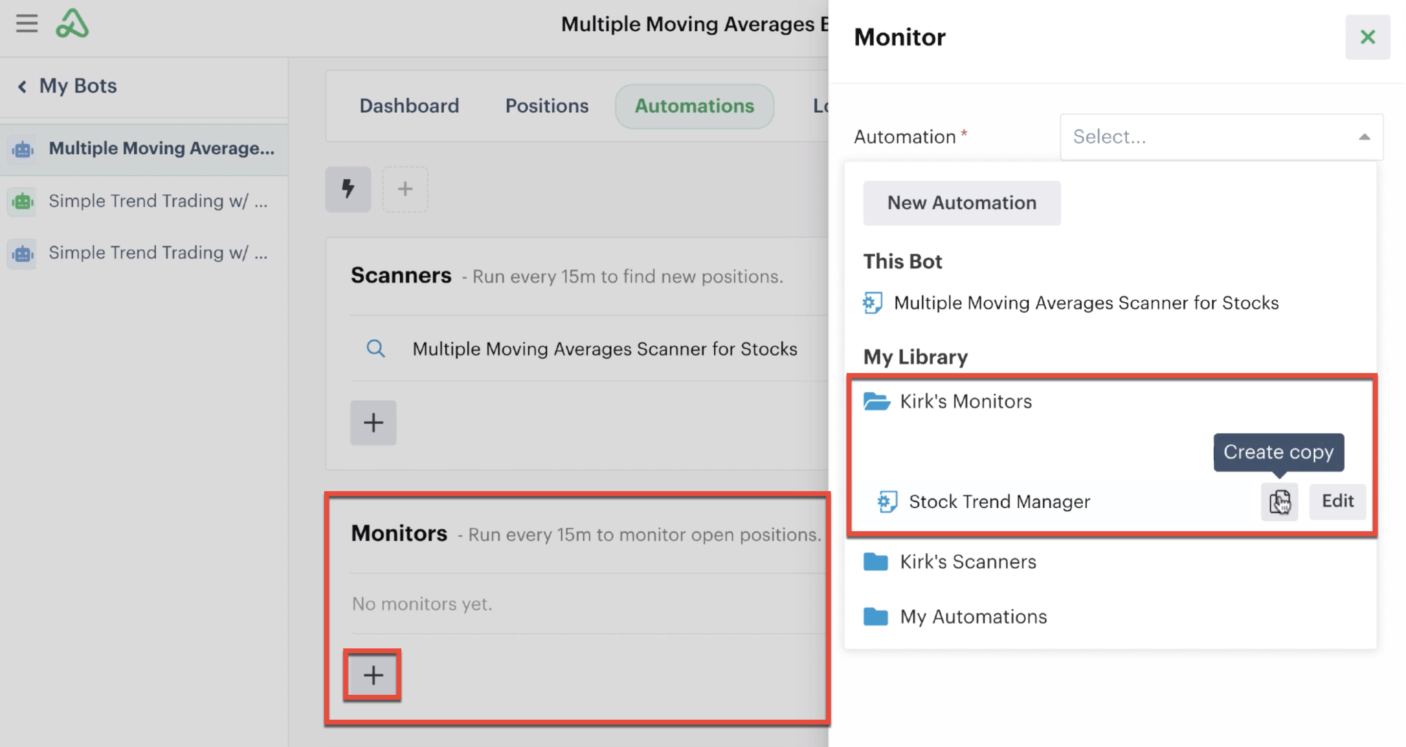 Creating a monitor automation copy