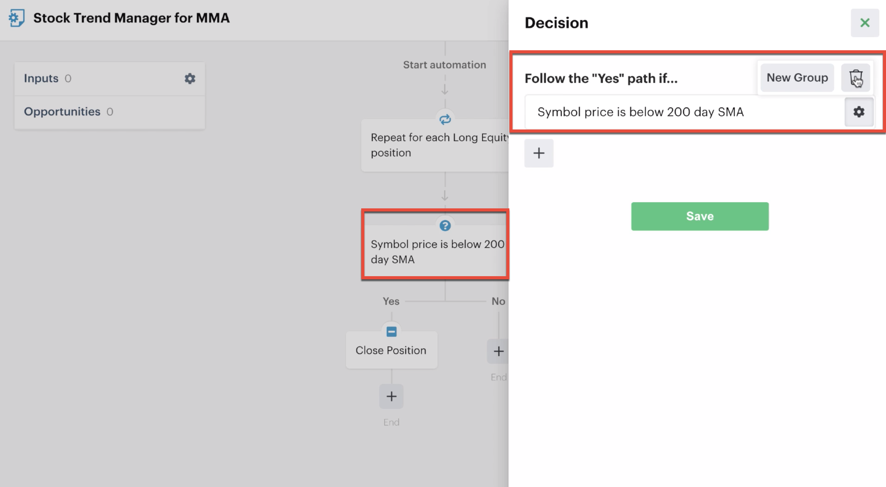Deleting a decision action