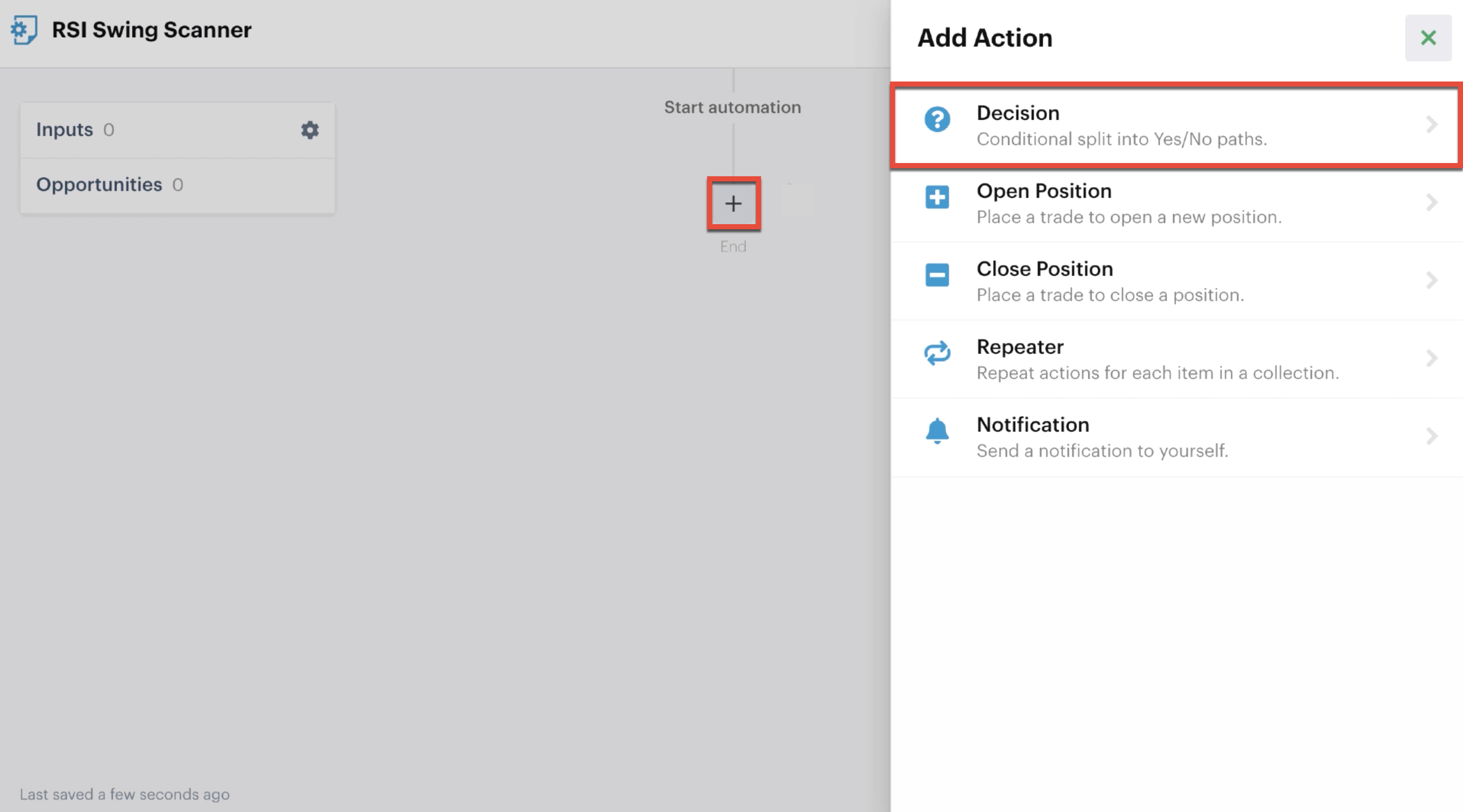 Add a decision action to the automation editor
