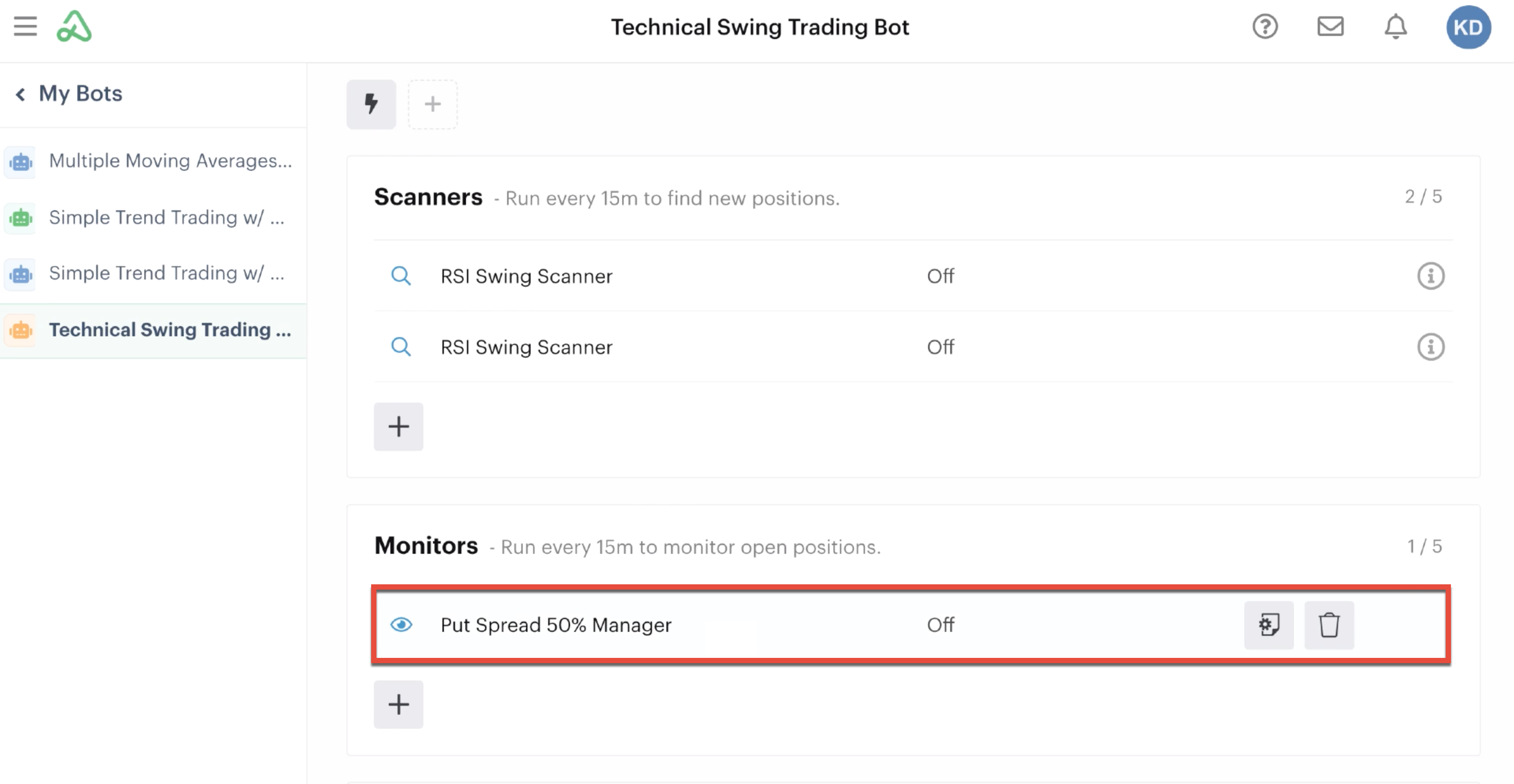 Monitor automation in the automations tab