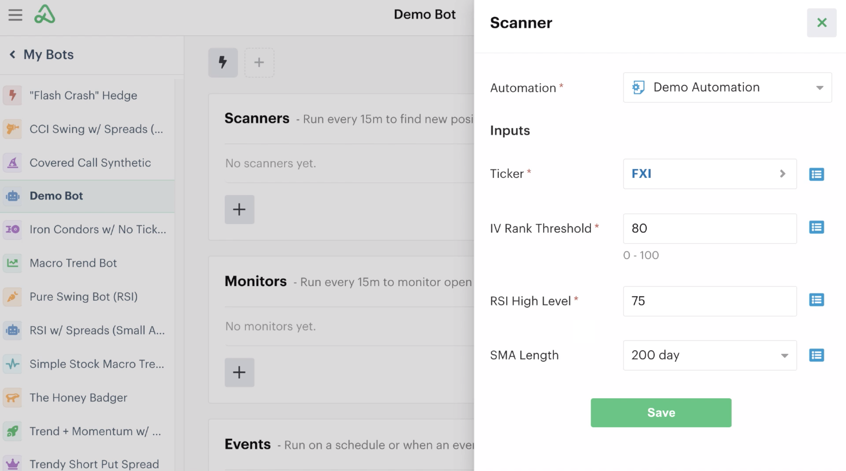 Automation's custom inputs listed in automations tab