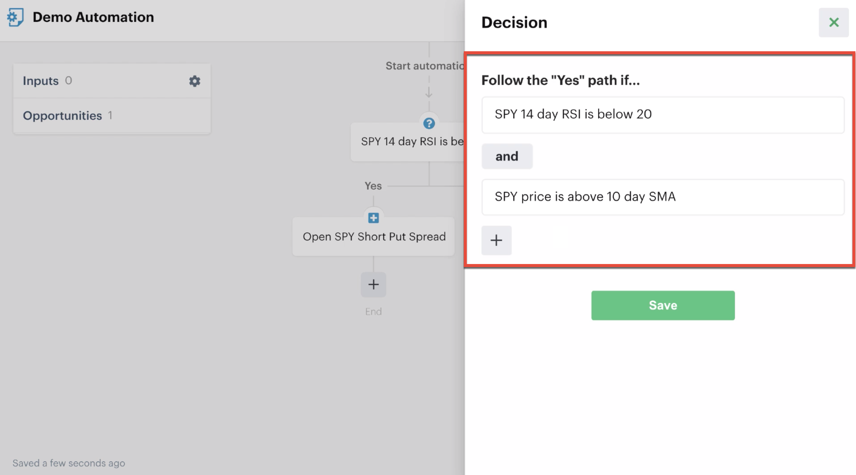 """Decision criteria grouped with the """"And"""" function"""