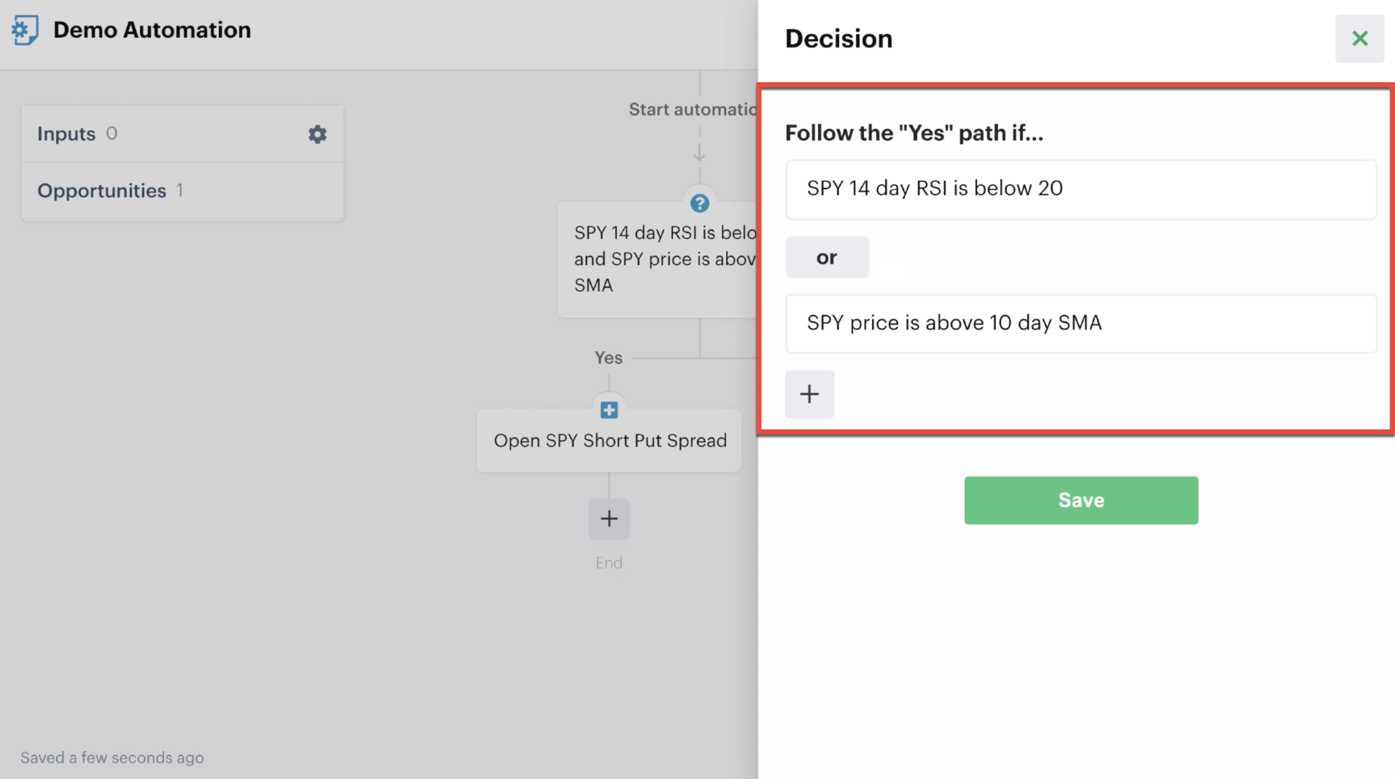 """Decision criteria grouped with the """"Or"""" function"""