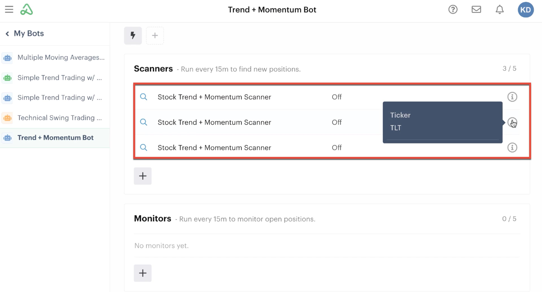 Scanner automation highlighting custom ticker input