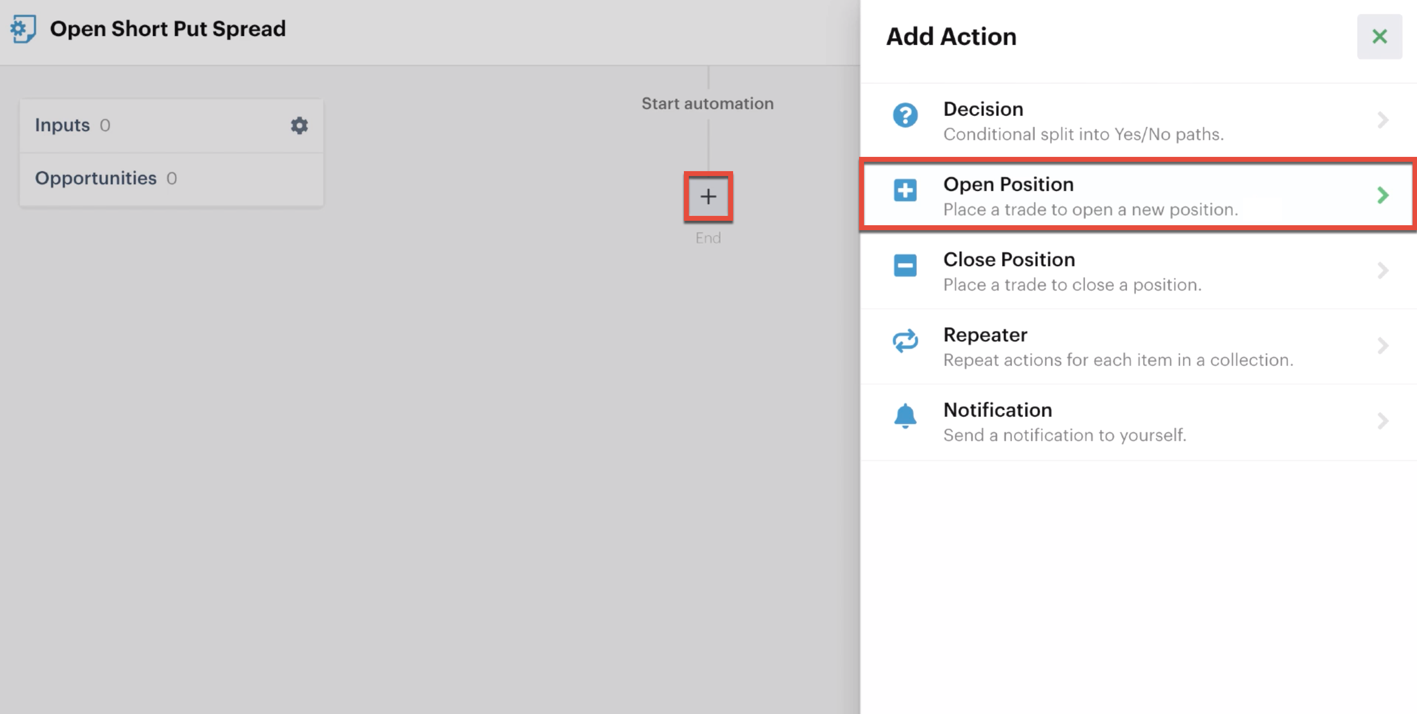 Adding an open position action