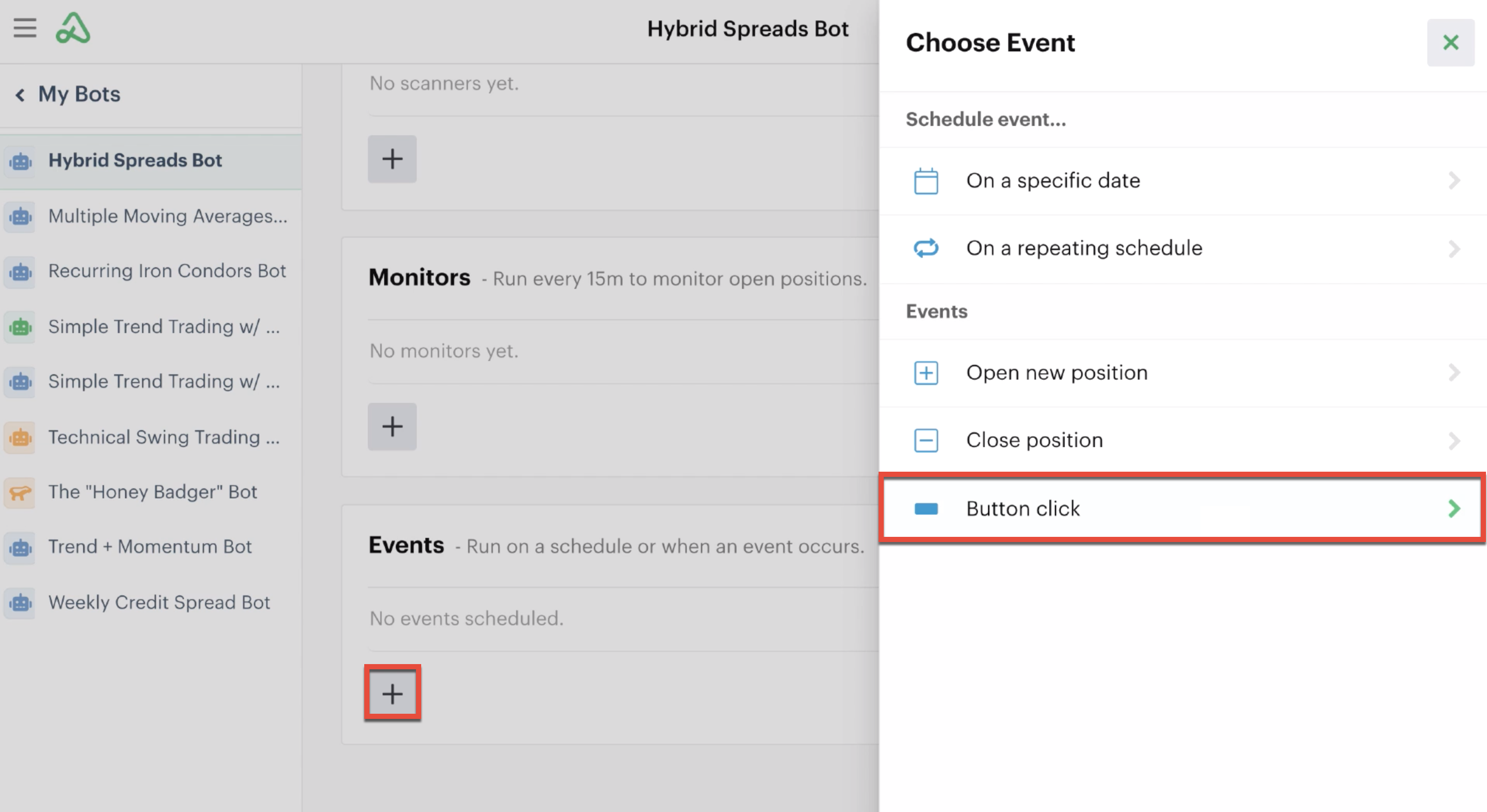 Add a button click in automations tab