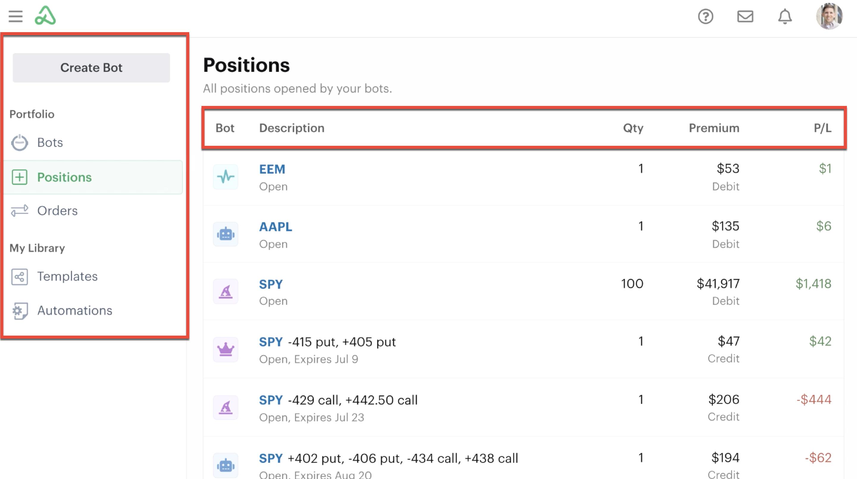 Positions listen in bot dashoard