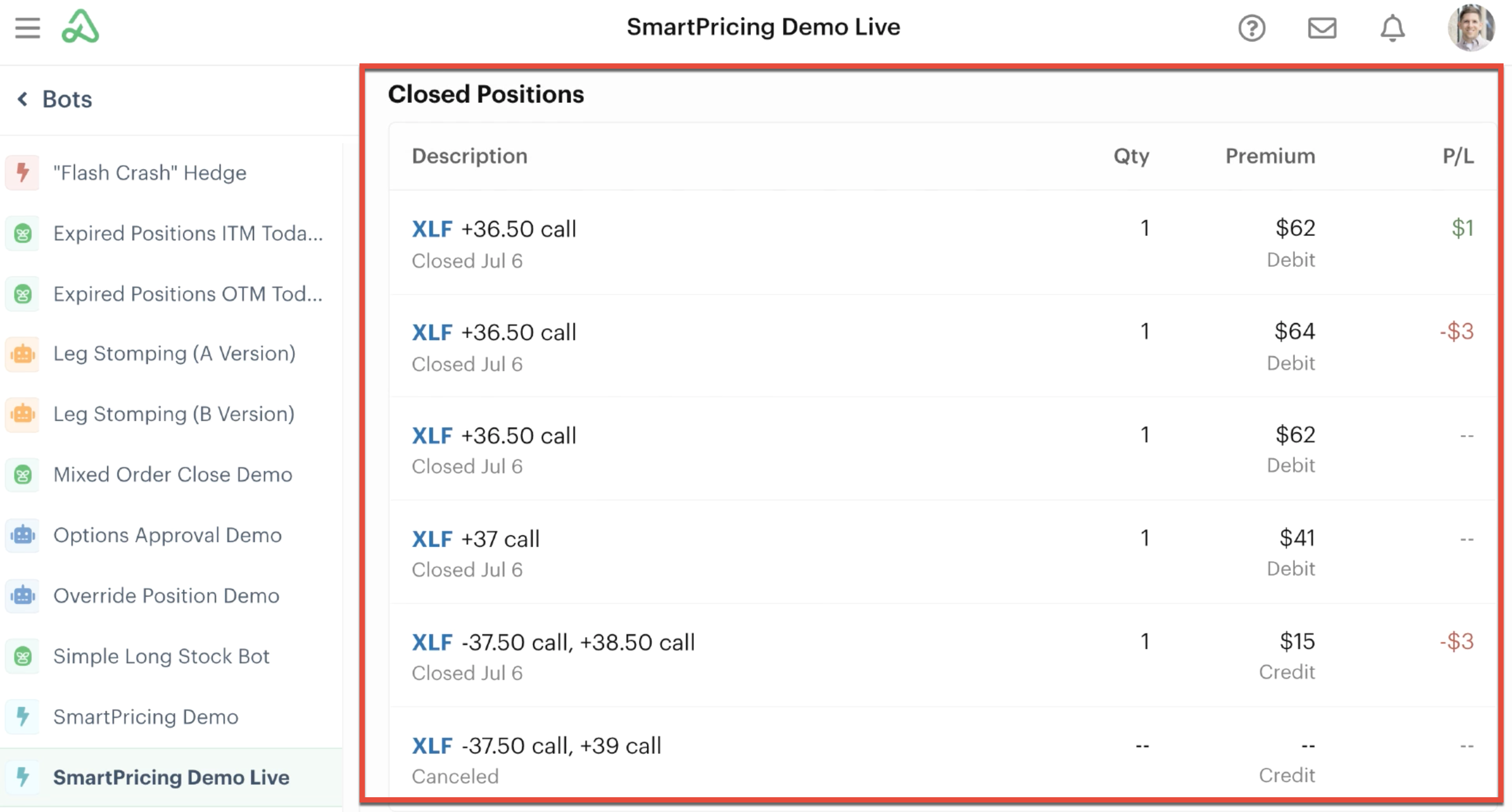Position statement with position summary of closed orders