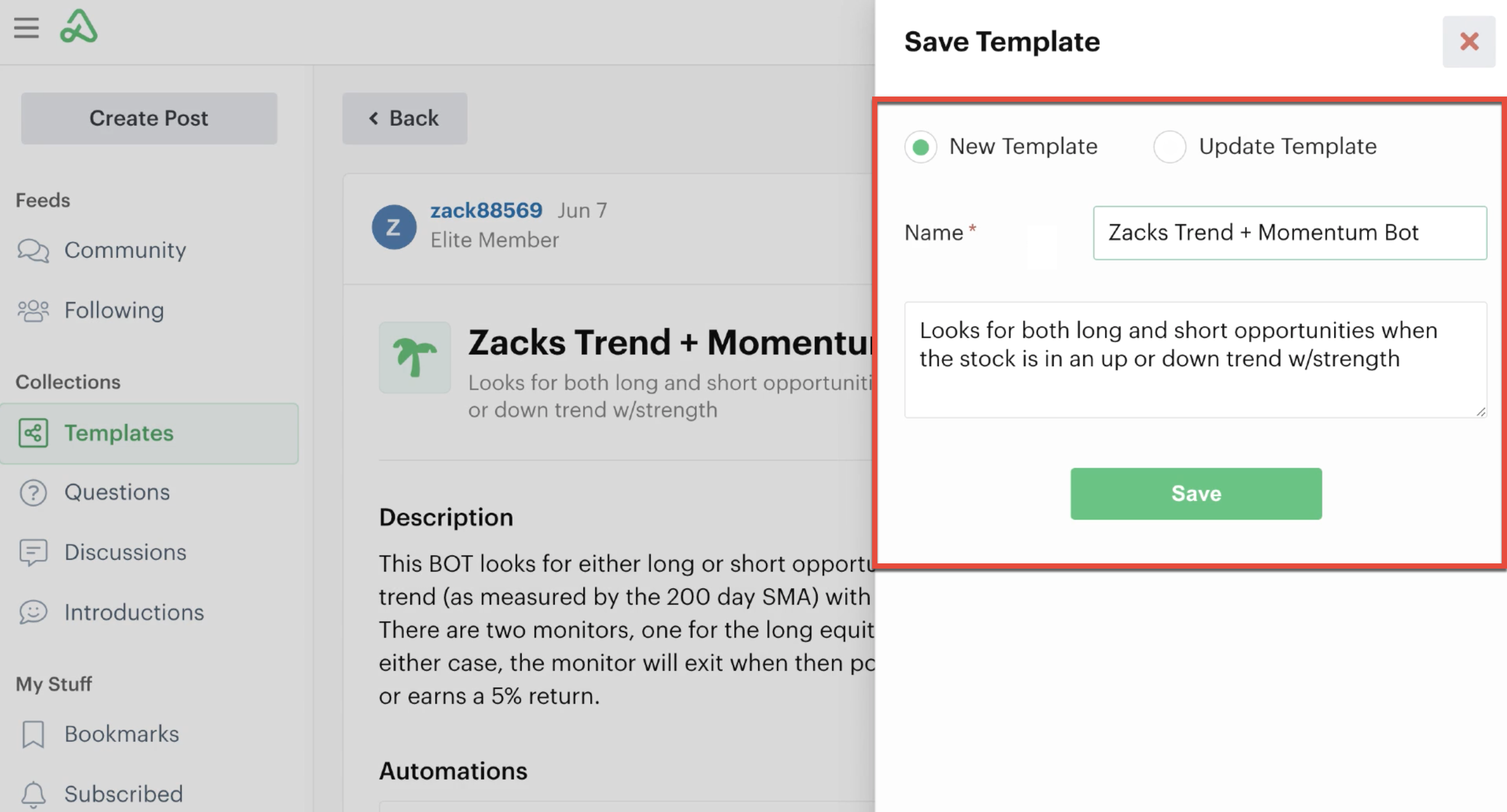 Save template