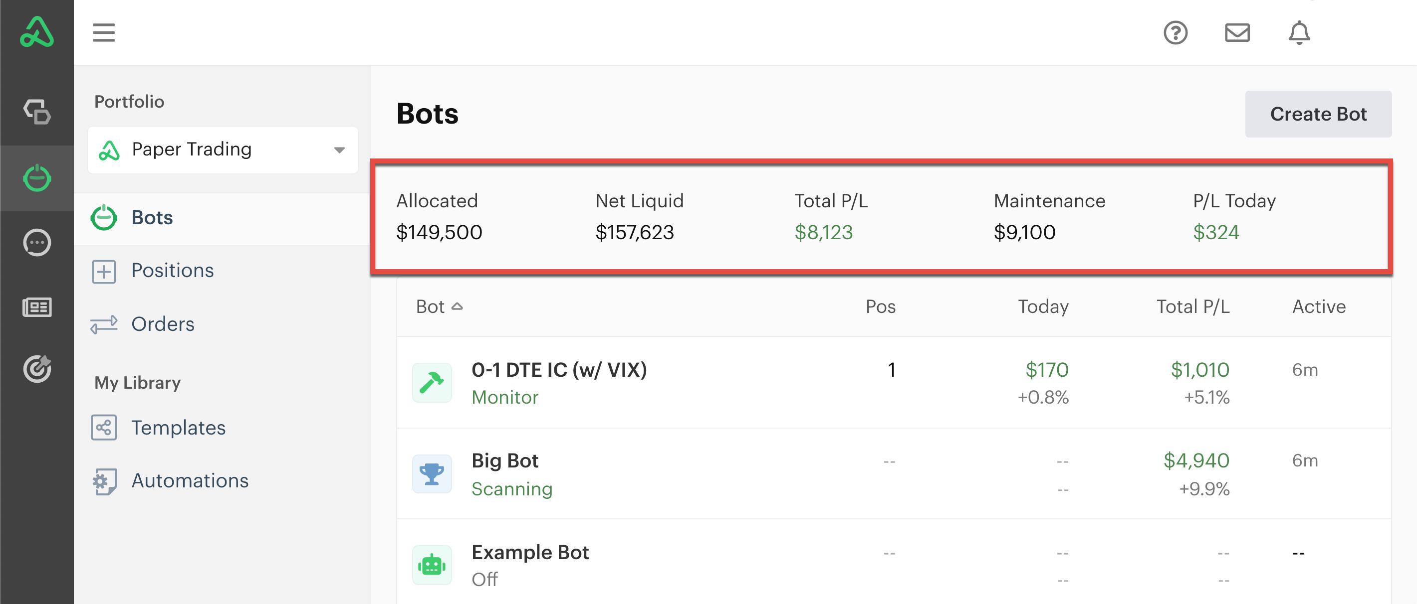 Summary statistics on bot dashboard