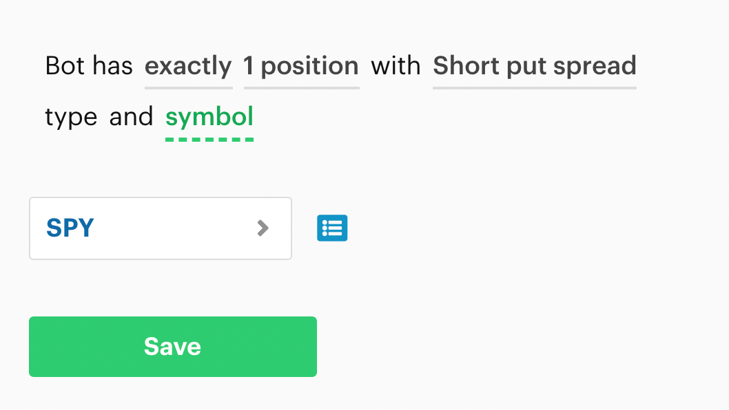 Bot has exactly X position with position type and symbol decision recipe