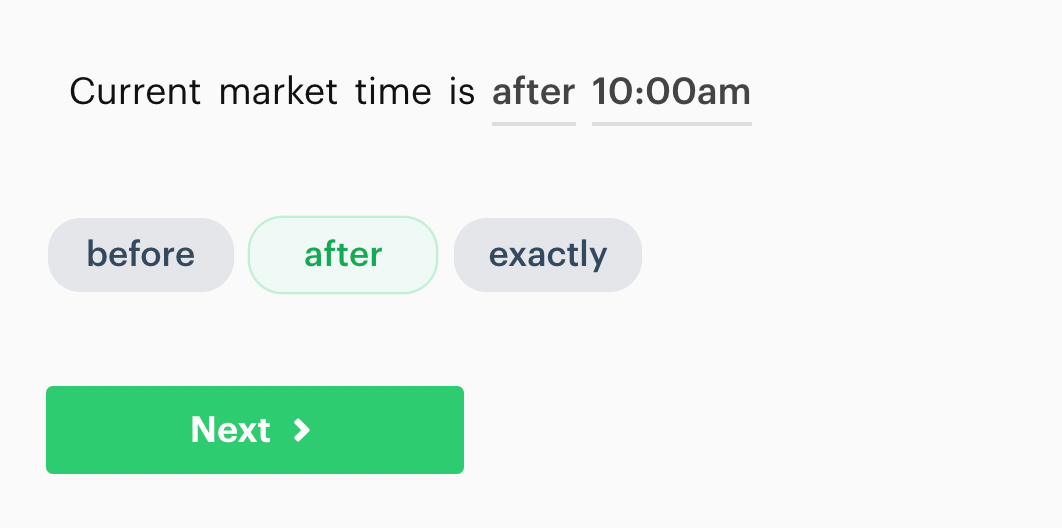 Current market time is decision recipe