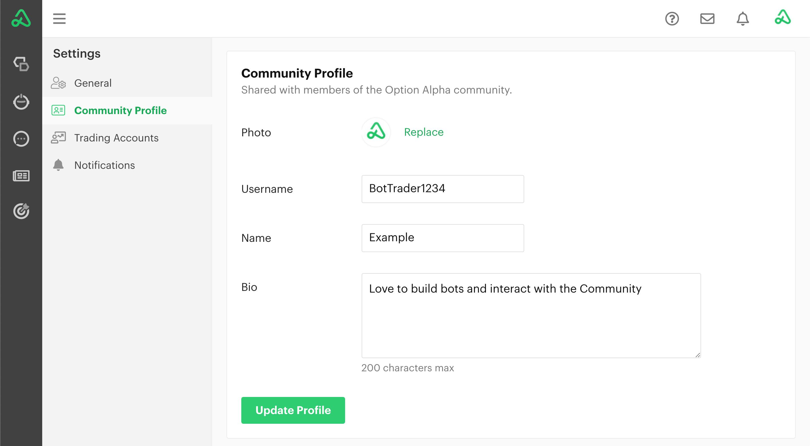 Community profile settings