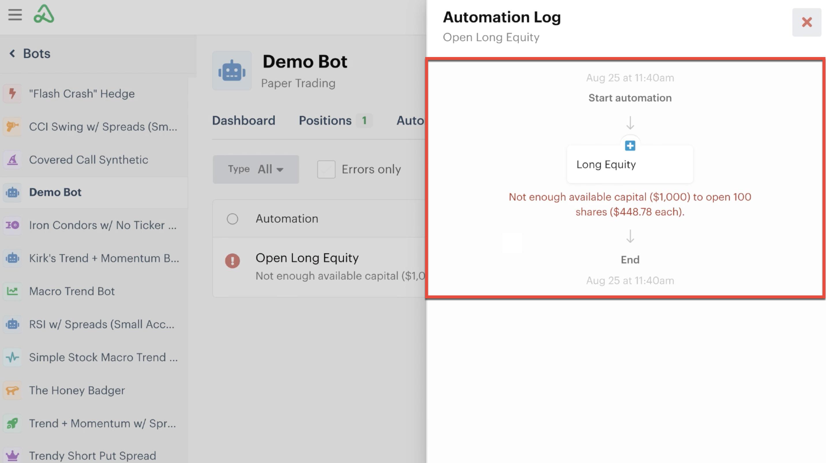 Automation log details