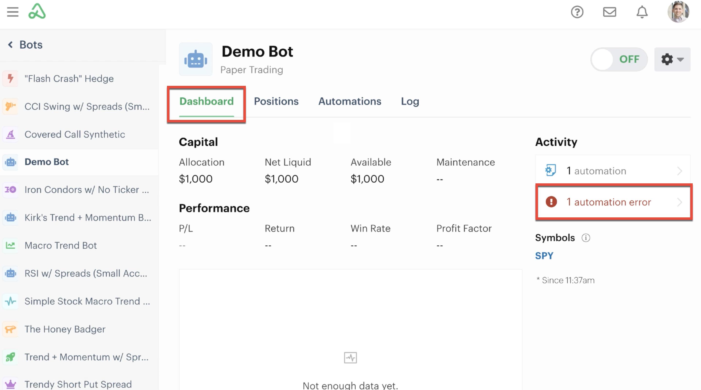 Bot dashboard