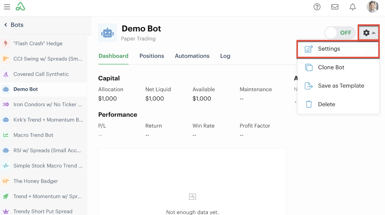 Bot settings