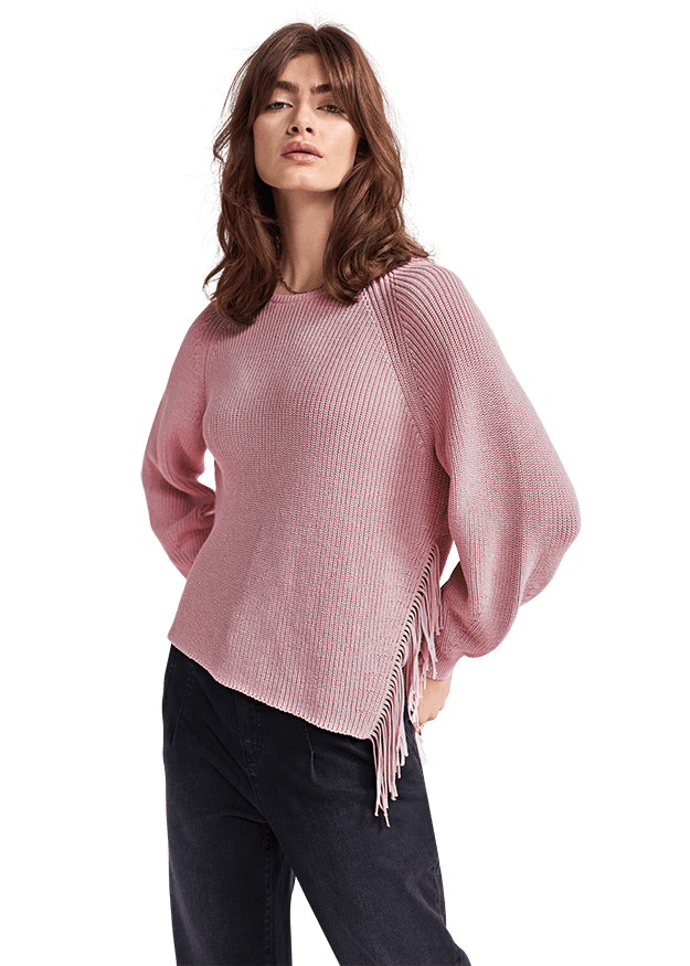 Pullover mit Fransendetails Rosé