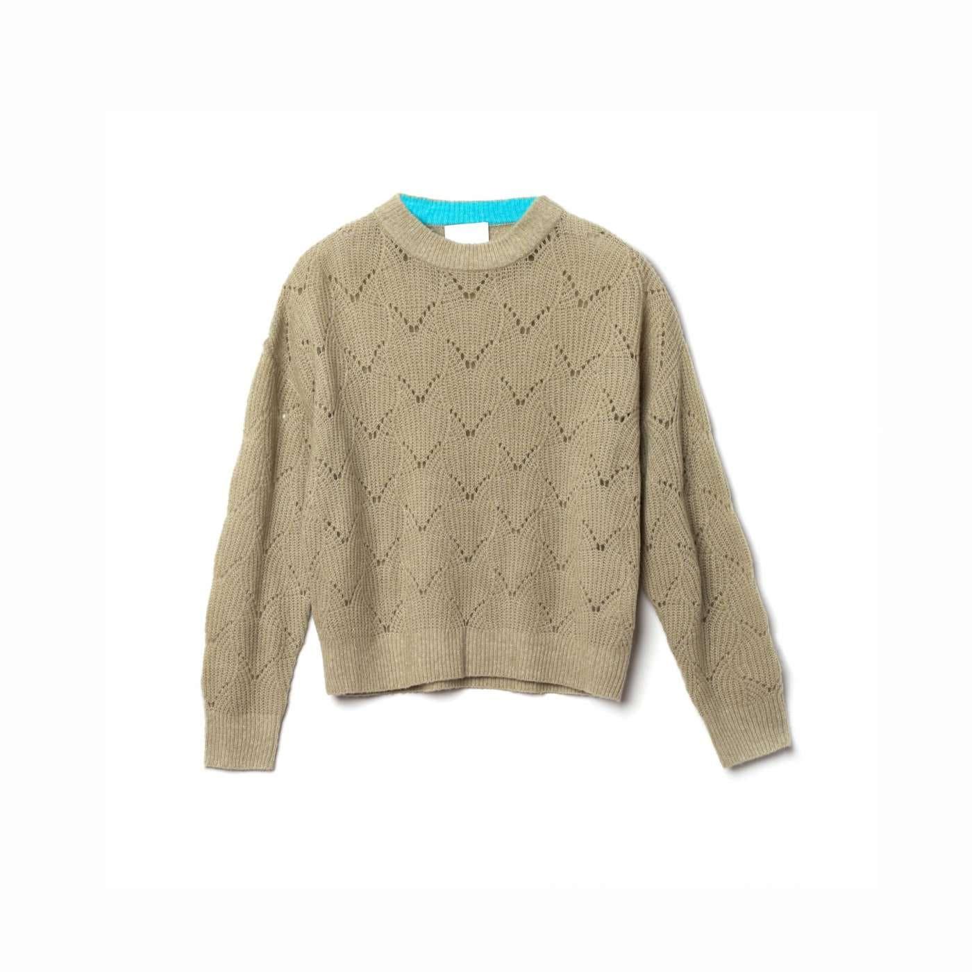 Pullover Nina Pointelle Grau-Grün