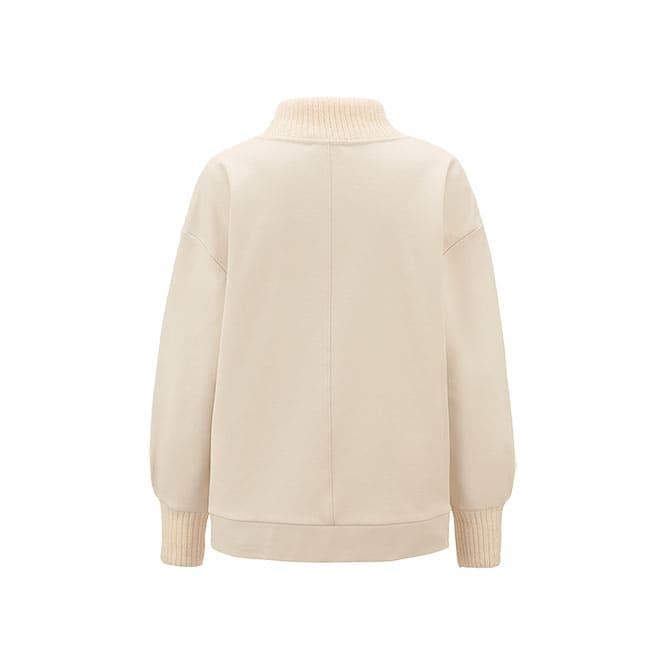 Sweatshirt mit Rippstrick Kragen