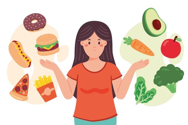 Woman choosing between healthy or unhealthy food illustration Free Vector