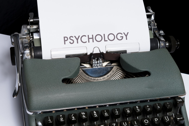Psychology typed on typewriter