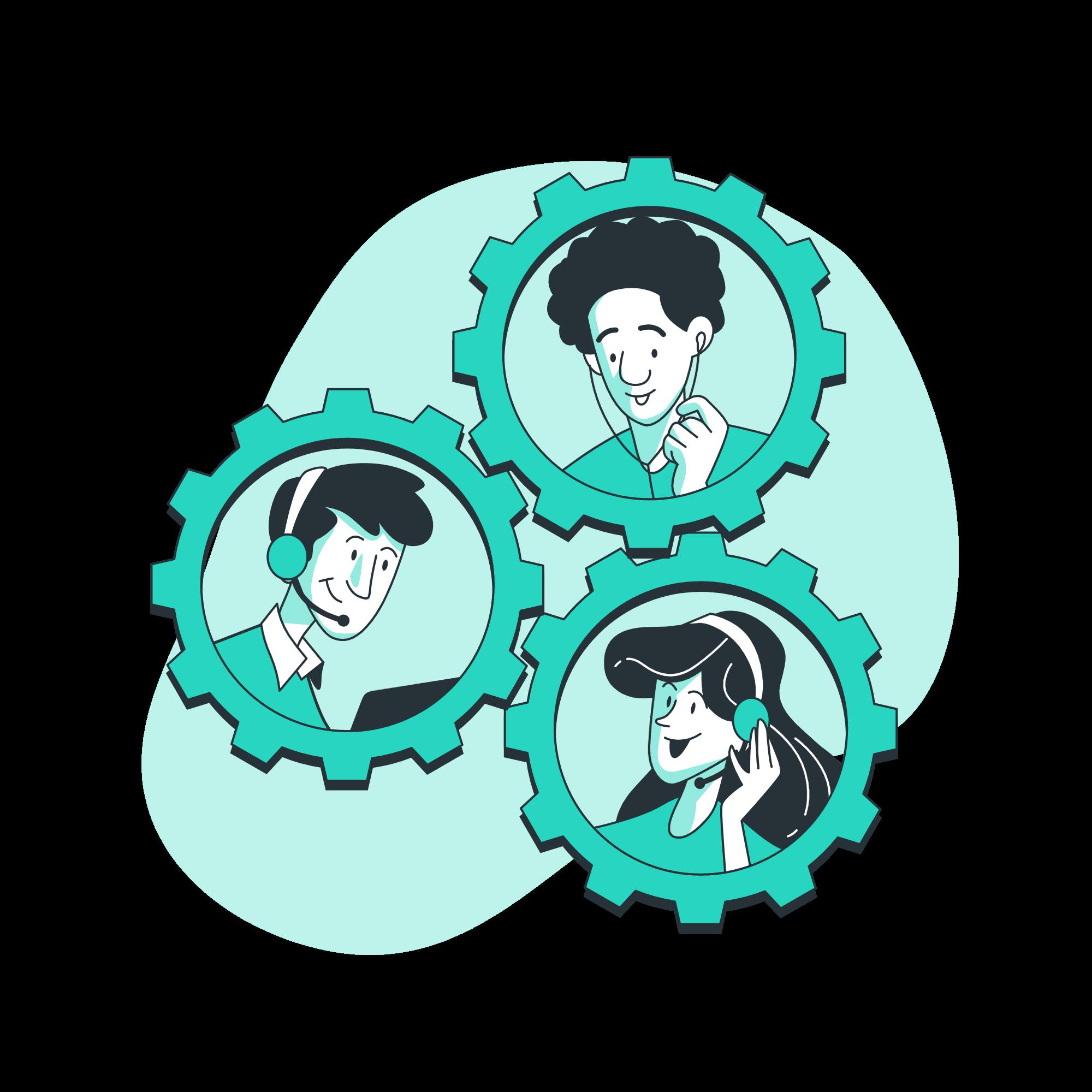 illustration of team members