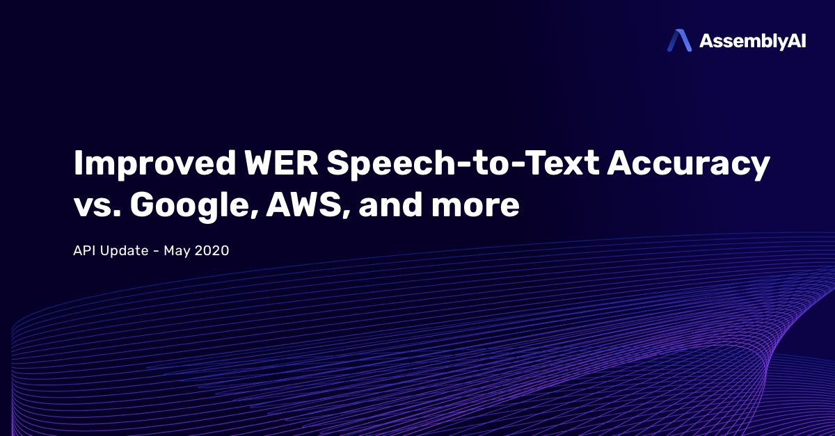 AssemblyAI Speech-to-Text API Improved Accuracy WER (Word Error Rate)