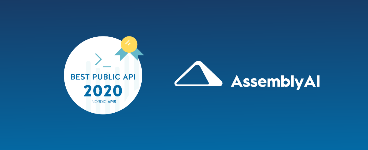 AssemblyAI Awarded Best Speech-to-Text API API of 2020