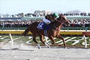 Mozu Ascot and Christophe Lemaire winning the Grade 1 February Stakes at Tokyo, picture Japan Racing Association
