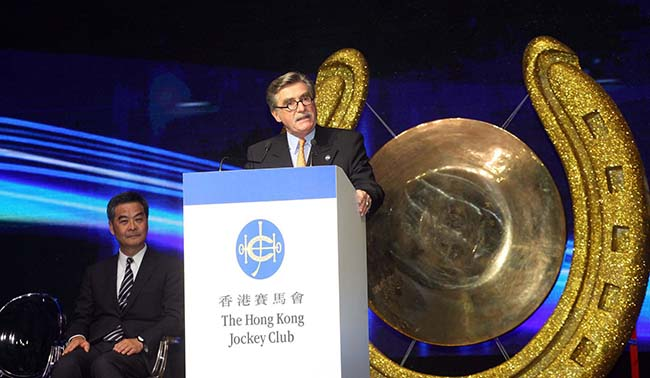 Mr T. Brian Stevenson, Chairman of the Hong Kong Jockey Club, delivers a welcome speech at the 35th Asian Racing Conference opening ceremony.