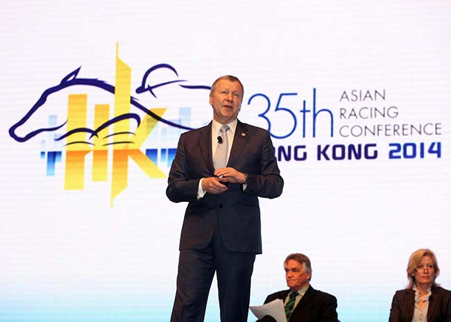 """Winfried Engelbrecht-Bresges, Vice Chairman of the Asian Racing Federation and Chief Executive Officer of the Hong Kong Jockey Club, speaks at the conference's first plenary session, """"Racing's lifeblood – the future landscape for wagering"""" today."""