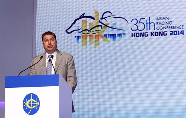 Session chairman William A. Nader, Executive Director, Racing of the Hong Kong Jockey Club, makes his presentation to attending delegates.