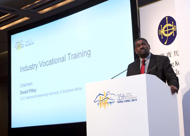 Panel Chairman Denzil Pillay, CEO of the National Horseracing Authority of Southern Africa, speaks on this topic at the session.