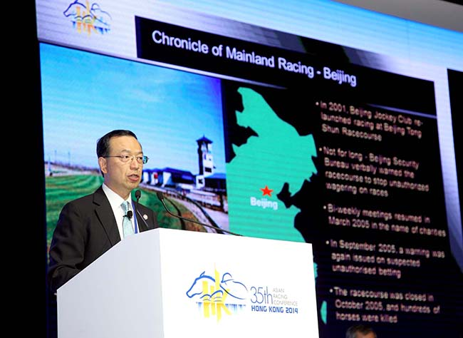 Kim Mak, Executive Director, Corporate Affairs of the Hong Kong Jockey Club, makes a presentation on the general landscape of horse racing and breeding in China.