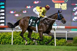 Southern Legend and Zac Purton winning at Kranji on Saturday, picture Hong Kong Jockey Club